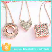 2016 BOOSIN rose gold plated crystal pendant necklace, fashion jewelry necklace with snake chain