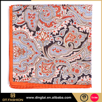 100% silk paisley pocket square small check handkerchief for boy