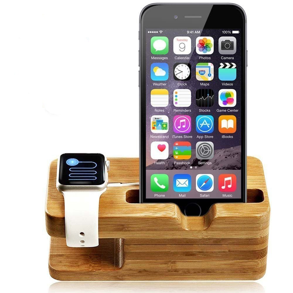 For Apple Watch Stand, Wood Charging Stand Bracket Docking Station Stock Cradle Holder for Both 38mm and 42mm