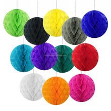 "8"" D Decorative tissue paper honeycomb balls assorted colors tissue paper flower ball"