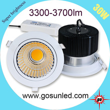 130lm/w meanwell driver CRI>82 power dimmable 30w cob led downlight
