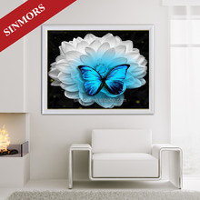 Top Sale Shiny Blue Butterfly On The White Flower Design Vinyl Wall Decals Home Decor Acrylic 5D DIY Diamond Painting