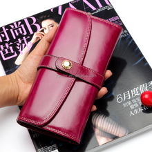 2015 Fashion Genuine cow leather clutch women leather wallet