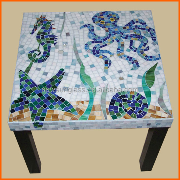 Modern style hand made square mosaic glass table