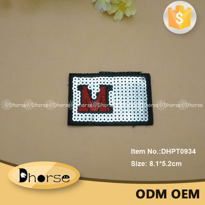 "Wholesale rectangle design letter ""M"" sparkling sequin patch for clothing"