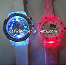fashion colorful lights up face watch with stones kids digital light up jelly watch silicone flashing light up watch