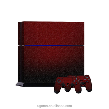Deep red decal Sticker Cover for PS4 Console & 2 Controller skin