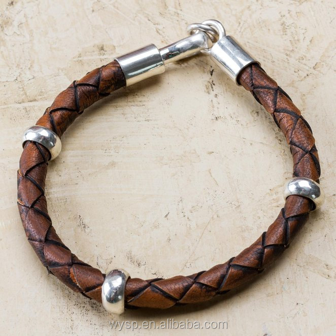 Wholesale Men's Brown Leather and 925 Sterling Silver Bracelet 'Chankas Warrior' Jewelry
