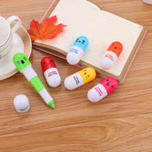 LOGO customization student stationery cartoon expression telescopic pen capsule pen Cute pill ball pen,