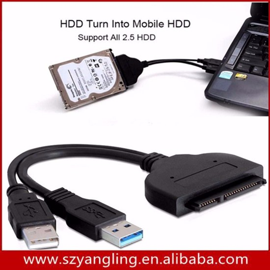 "2.5"" HDD USB 3.0 SuperSpeed to SATA cable - No need for external Enclosure Direct USB HDD Use"