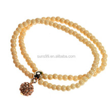 Wholesale Two Strap Nature Bead Shamballa Inspired Gemstone Stretch Bracelet