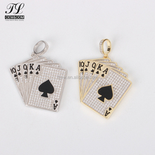 Royal Flush poker playing cards gold silver hip hop pendant