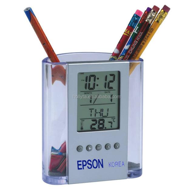 pen holder for promotional gifts Multifunction calendar with clock pen holder