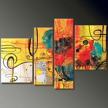 handmade home decor abstract yellow scenery 4 panel oil painting on canvas