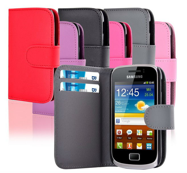 Magnet Side For Samsung Galaxy Mini 2 S6500 flip PU Leather Wallet Phone Case
