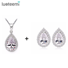 LUOTEEM Wholesale Cheap Wedding Jewelry Set Platinum Plating Crubic Zircon Necklace Earrings Set for Women Wedding Party Jewelry