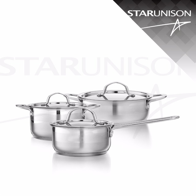 6 pcs modern design small size lid and handle mirror polishing stainless steel cookware