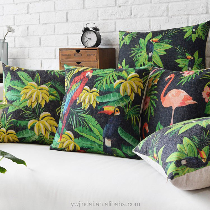 Wholesale! Pillow Cover Black Background Rainforest Style Fleece Bananas And Birds Pillow Cover Computer Chair Printed