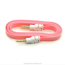 3.5mm noodle flat aux cables Auxillary Music Car Male to Male Cord audio extension cable for car phone