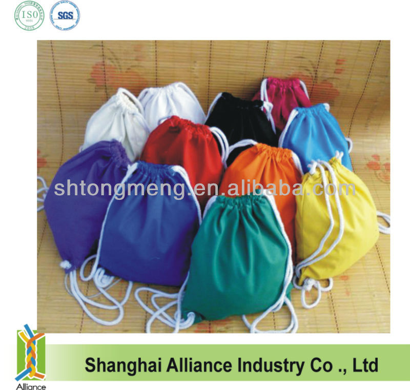 Colored Canvas Cotton Promotional Drawstring Laundry Bag