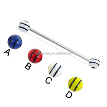 Body Industrial Jewelry Piercing with Striped Balls