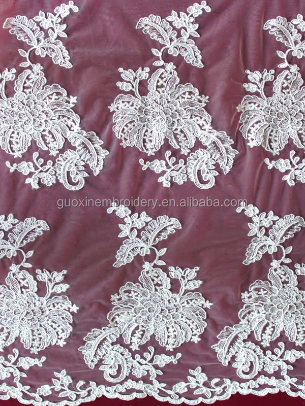 2015 dubai bridal corded embroidery lace designs for wedding dress