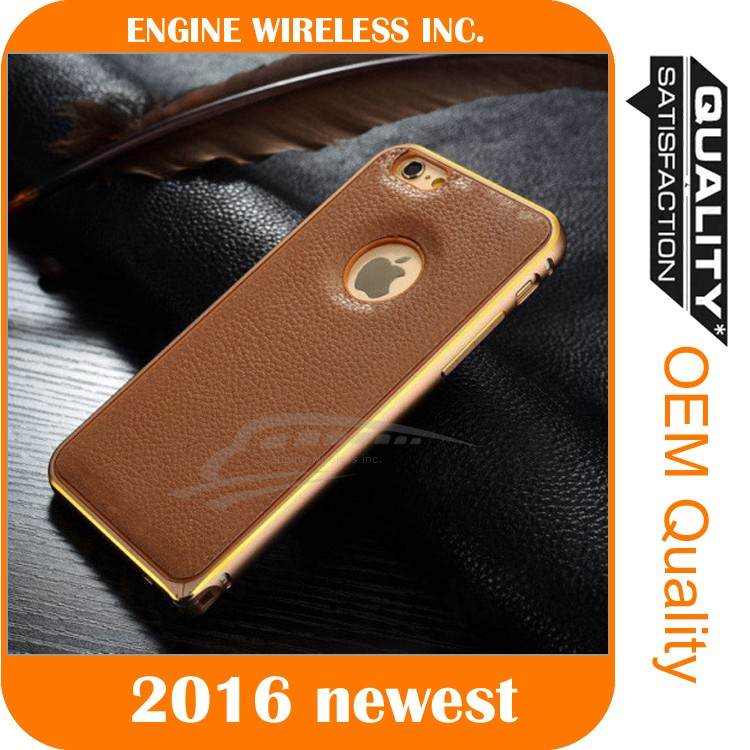 metal bumper leather back cover for samsung galaxy s5 case