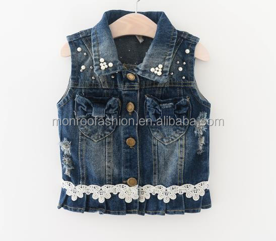 monroo Kids Fashion Denim Vest Design Korean Style Kids Beaded Vest