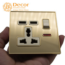 DC 5V 2.1A USB wall outlet + universal grounding socket with switch