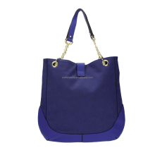 Wholesaler New design Metallic PU Leather Blue Organizer Bowler Hand Tote Bag from Turkey