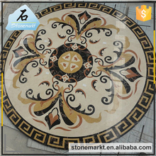 Professional Custom pattern circle flooring inlay high grade marble waterjet medallion