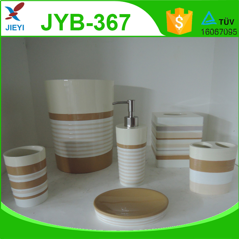 China modern style ceramic effect bright polyresin for Bright bathroom sets