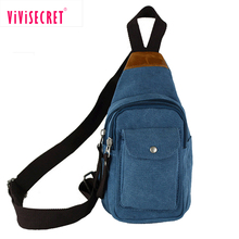 Custom Blue 16oz Canvas One Shoulder Strap Backpack Side Sling Chest Bag with army color