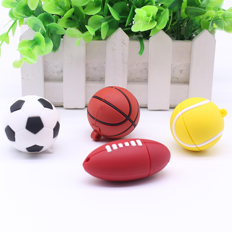 PVC Football Basketball USB Pendrive Ball Shape with Key Chain for Gift