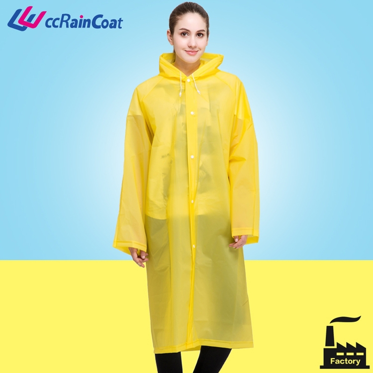 Simple design women in plastic rubber branded raincoats