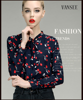 full all over printing thin silk satin blouses with bow tie