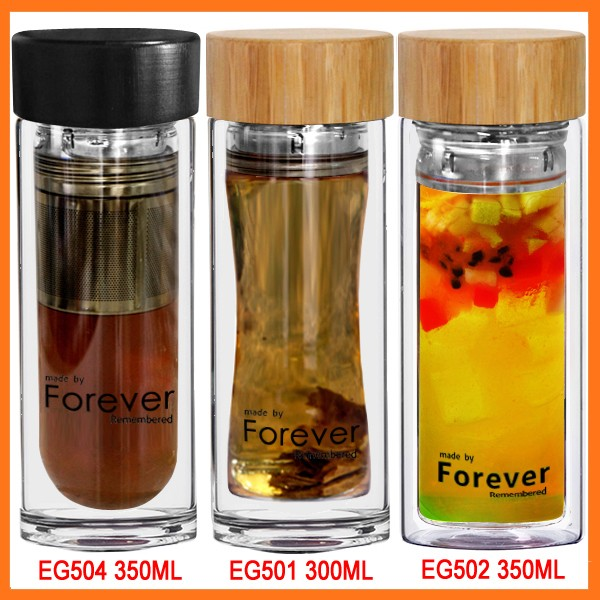 2014 New Double Wall Bamboo Cover And Small Tea Infuser Tea Glass Drinking Mug - 10oz (300ml)