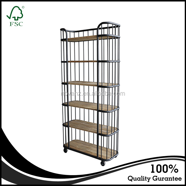 Industrial Style Display Bookshelf Wood Display Bookcase Old Pine Iron Shelf