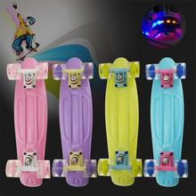 "22"" retro cruiser style pastel skating board with led wheels for sale"