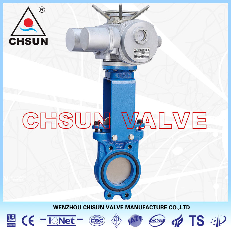 Orbinox Waste Water Cast Iron Electric Actuated Wafer Connected Knife Gate Valve
