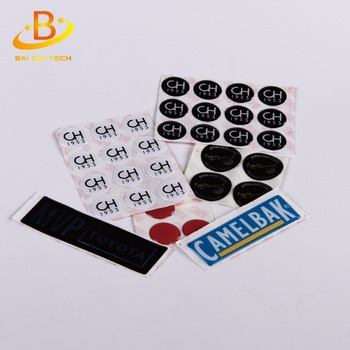 Custom round high gloss embossed outdoor waterproof weatherproof 3M adhesive gel 3d crystal clear epoxy resin dome sticker