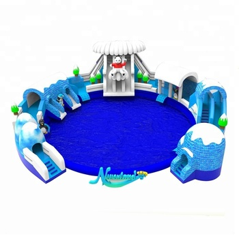 New Design NEVERLAND TOYS Colorful Entertainment Snow Mountain World Giant Inflatable Floating Water Slides Park For Adult
