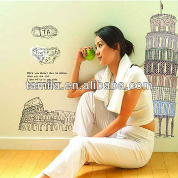 Leaning Tower of Pisa wall stickers living room bedroom TV sofa backdrop decorative sticker