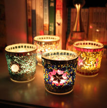 Fashion multicolour handmade mosaic small glass mousse candle table windproof candle cup at home romance