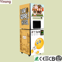 Commercial automatic coffee vending machine with drop off cup