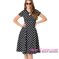 Black & White Dotted Cap Sleeve ladies western dress designs