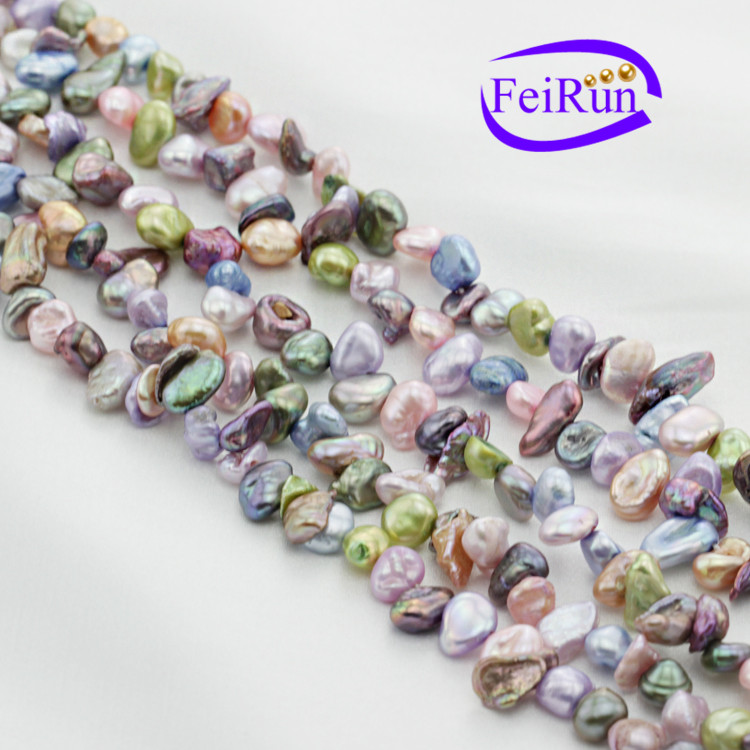5-6mm small size multi color dyed color irregular reborn natural keshi pearl string
