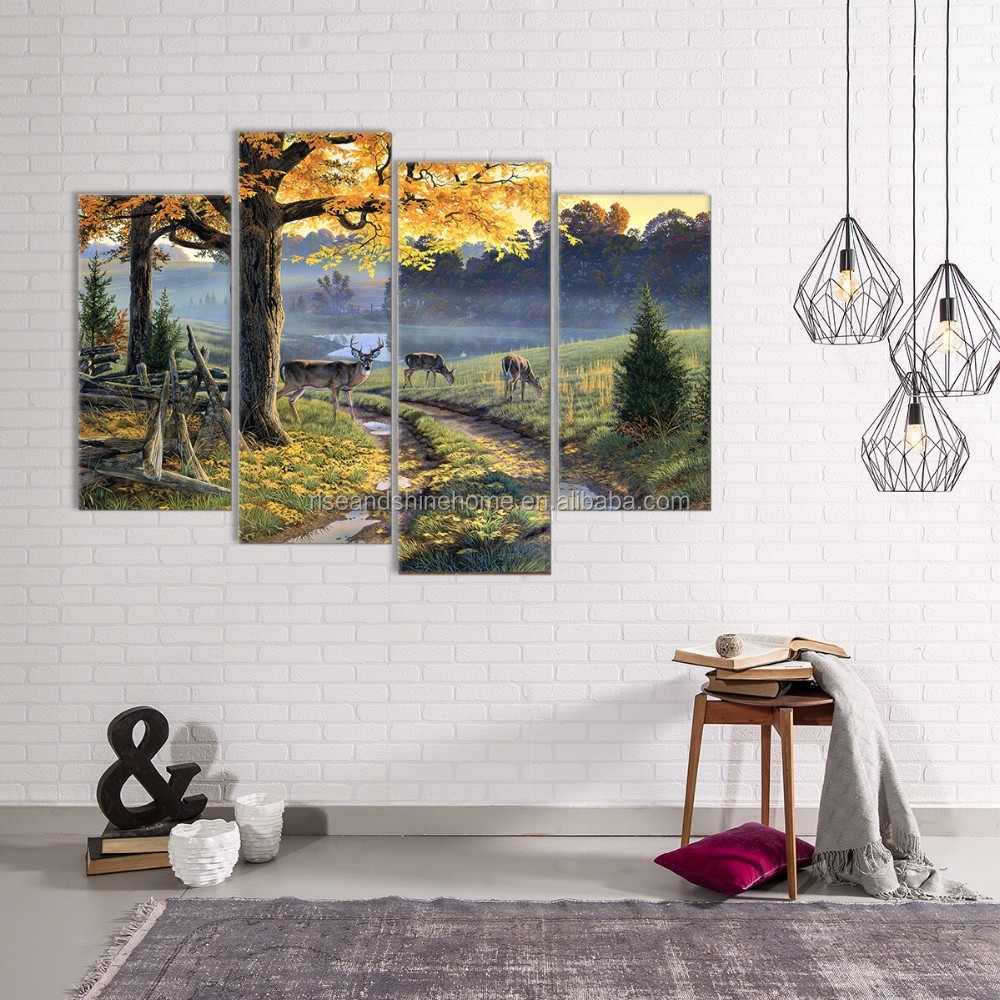 Wholesale abstract modern tree and elk decorative oil painting on canvas