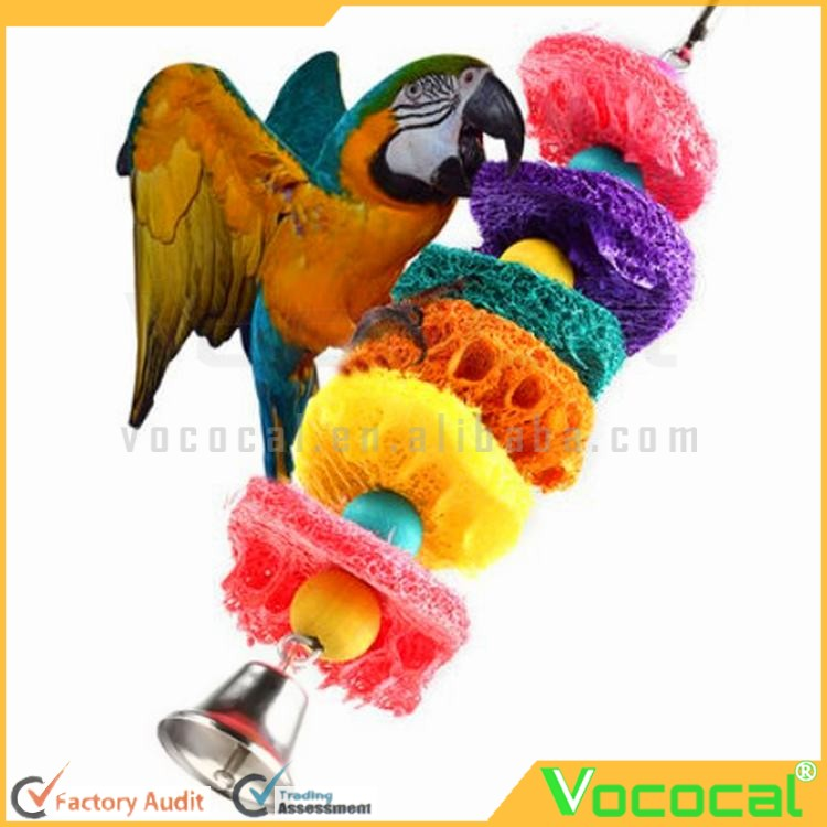 Loofah Sponge Bird Chew Parrot Cage Cockatoo Conure Bite-resistant Toys Handmade Parrot Swing Ladder Toys