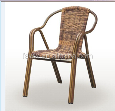 wholesale cheap aluminium bamboo look outdoor rattan wicker used chiniese restaurant furniture/chair